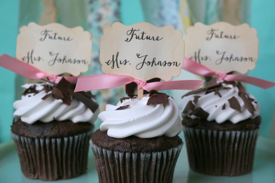 future mrs bridal shower cupcake toppers wedding toppers bride to be custom bridal toppers
