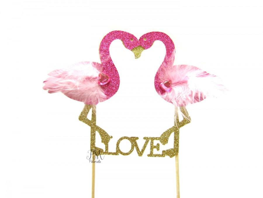 Свадьба - Glitter Flamingo LOVE Cake Topper - Tropical Wedding Cake Topper, Tropical Wedding, Tropical Party, Flamingo Wedding, Flamingo Love