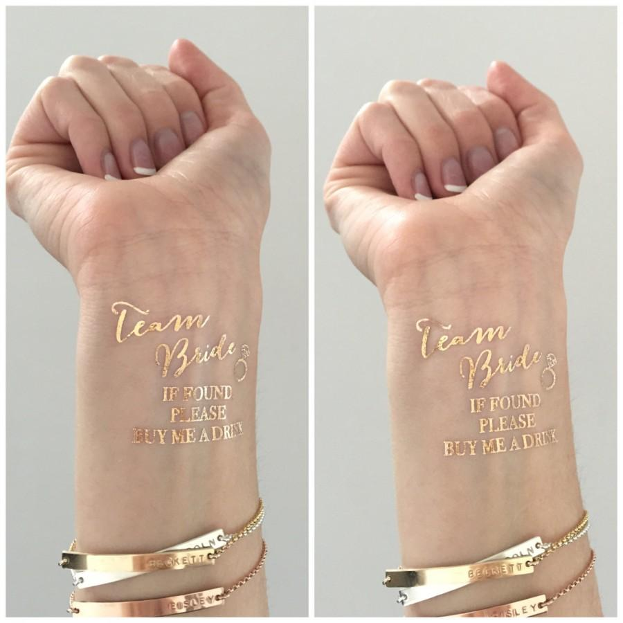 Свадьба - METALLIC gold TEAM BRIDE  buy me a drink Bachelorette Party temporary tattoos