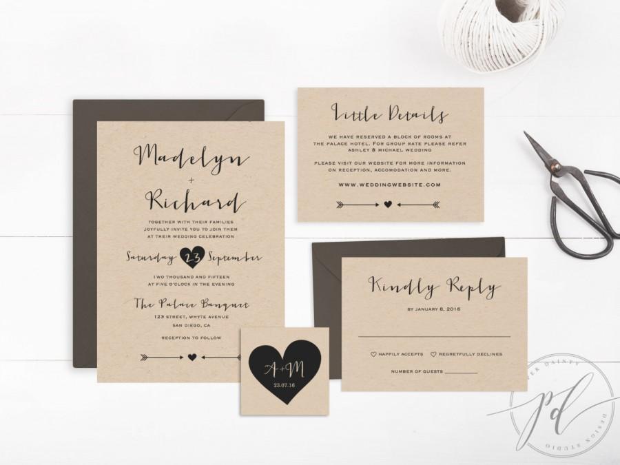 زفاف - Wedding Invitation template printable, Editable Text and Artwork Colour, Instant Download, Edit in Word or Pages