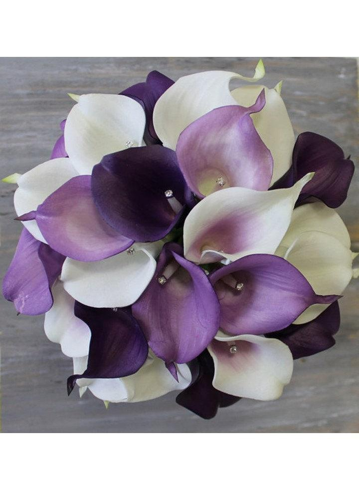 Purple wedding bouquet purple calla lily bouquet purple bouquet real purple wedding bouquet purple calla lily bouquet purple bouquet real touch purple calla lily bridal bouquet wedding bouquets weddings junglespirit Images
