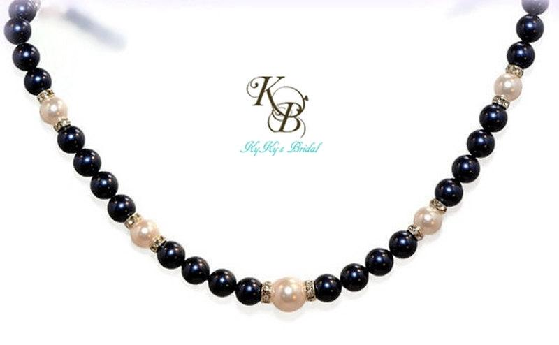 Mariage - Blue Pearl Necklace, Bridesmaid Necklace, Blue Bridal Necklace, Something Blue, Wedding Jewelry, Blue Necklace, Bridesmaid Jewelry