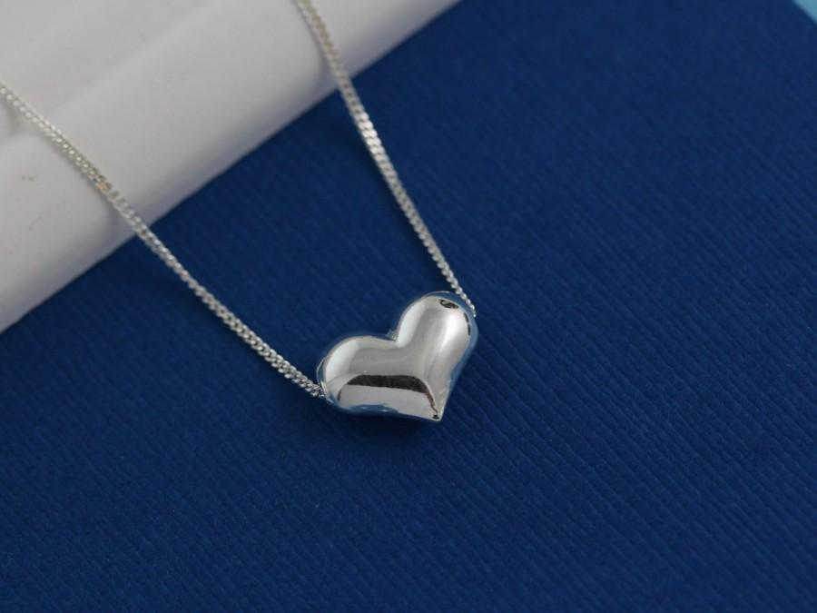 Wedding - Sterling Silver Heart Necklace, Puffy Heart Necklace - Dainty Delicate Necklace-Friends & Bridesmaid gift. sideway heart Necklace