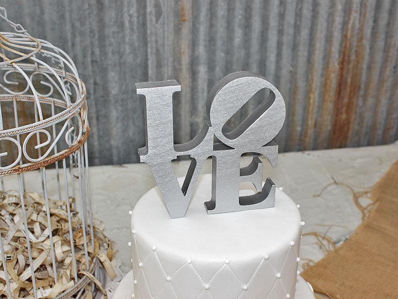 زفاف - LOVE Cake Topper - Metallic Silver or Metallic Gold