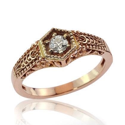 Mariage - Unique Diamond Jewelry, Engraved Diamond Engagement Ring, Art Deco Ring, Diamond Jewelry, Statement Ring, Rose Gold Diamond Ring