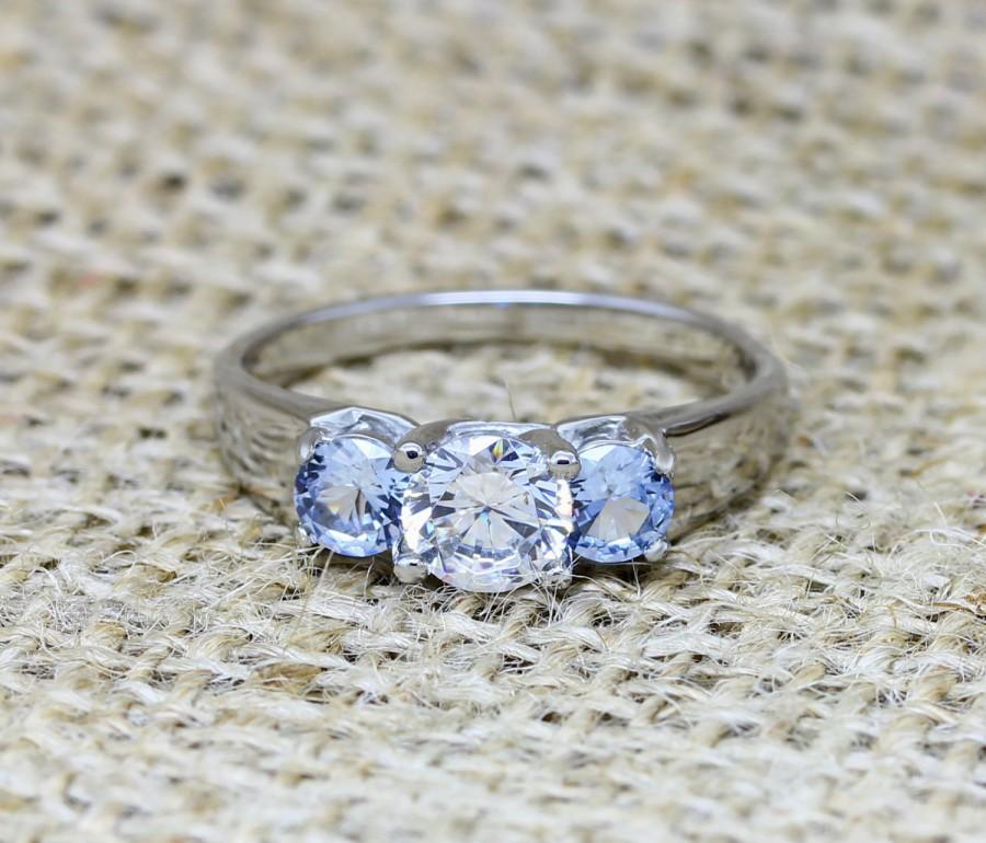 Mariage - Trellis Trilogy ring with Natural aquamarine and lab diamond - Choose from Titanium or white gold - engagement ring