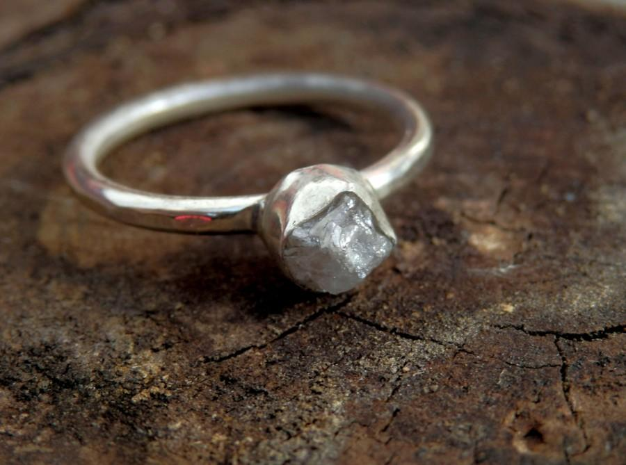 Hochzeit - Custom sterling silver and conflict free 1 carat raw diamond ring / wedding ring / engagement ring / rough diamond ring