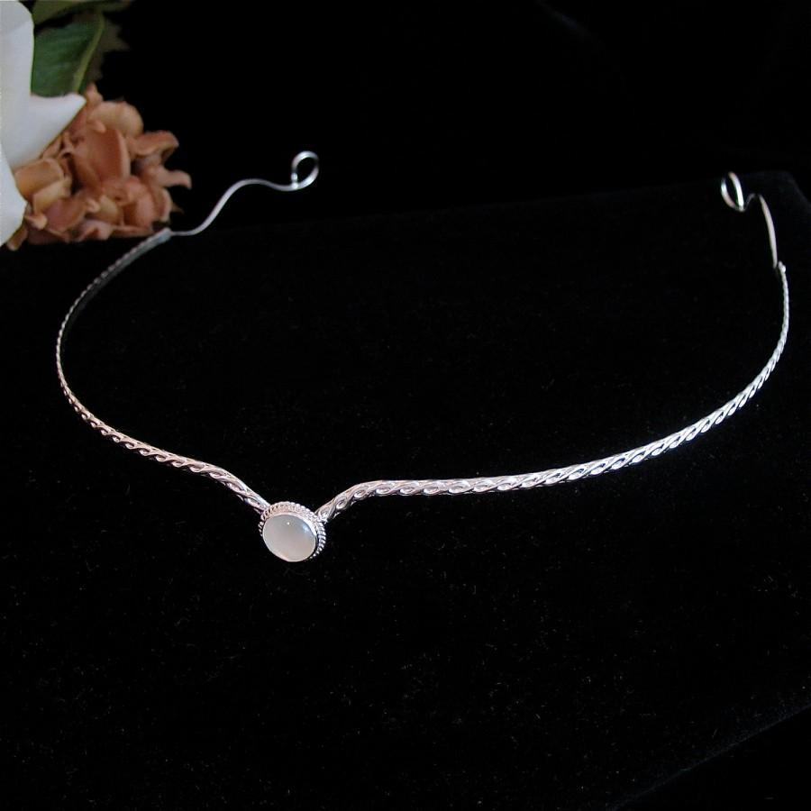 Mariage - Simple Bridal Tiara Headpiece, Wedding Circlet, Fantasy Elvish Inspired, Elvish inspired, LOTR inspired, Artisan Handmade in Sterling Silver