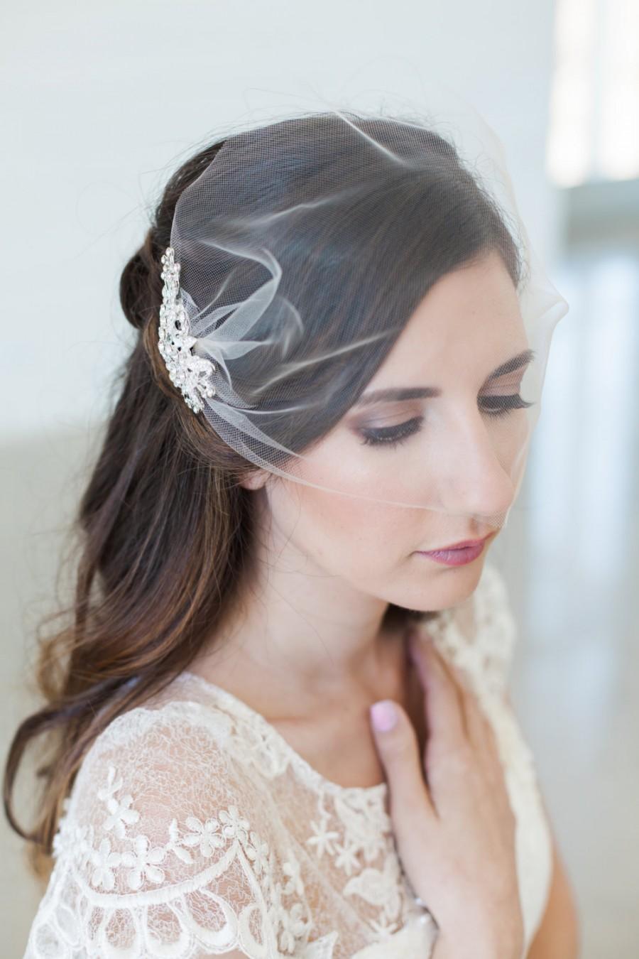 زفاف - Birdcage veil, Blusher veil, Tulle Bridal Veil and Bridal Comb, Bandeau Birdcage Veil - QUICK SHIPPER - Wedding Veil with Crystal Comb