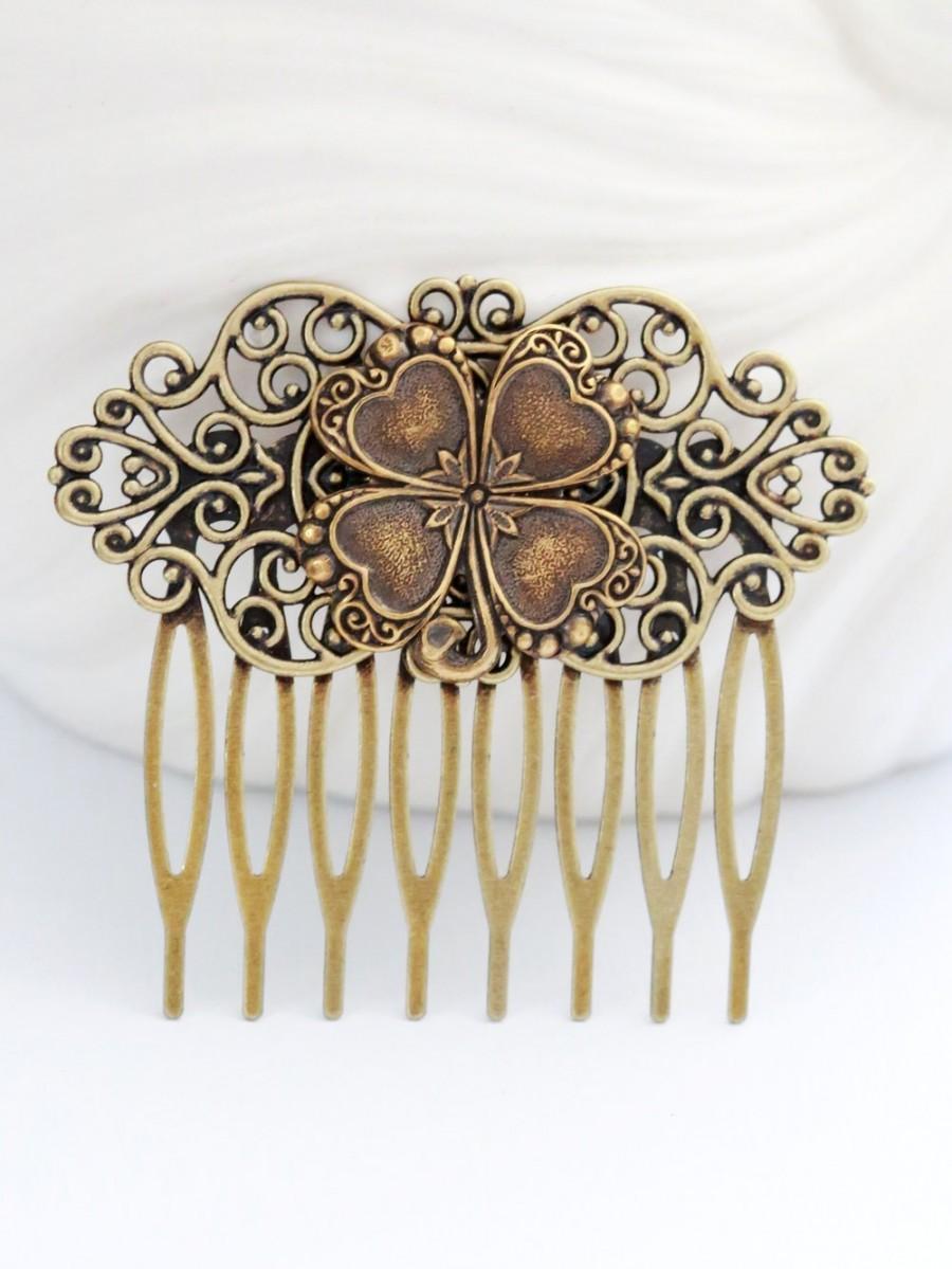 Four Leaf Clover Brass Hair Comb Wedding Bridal CombFlowers Collage Jewelry Gift Irish Shamrock Bridesmaid