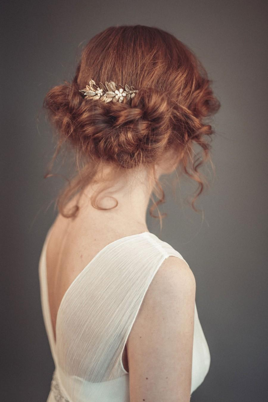 Свадьба - Floral bridal hair comb - Gold floral hair comb - Gold bridal hair comb - Wedding hair piece - Wedding hair comb