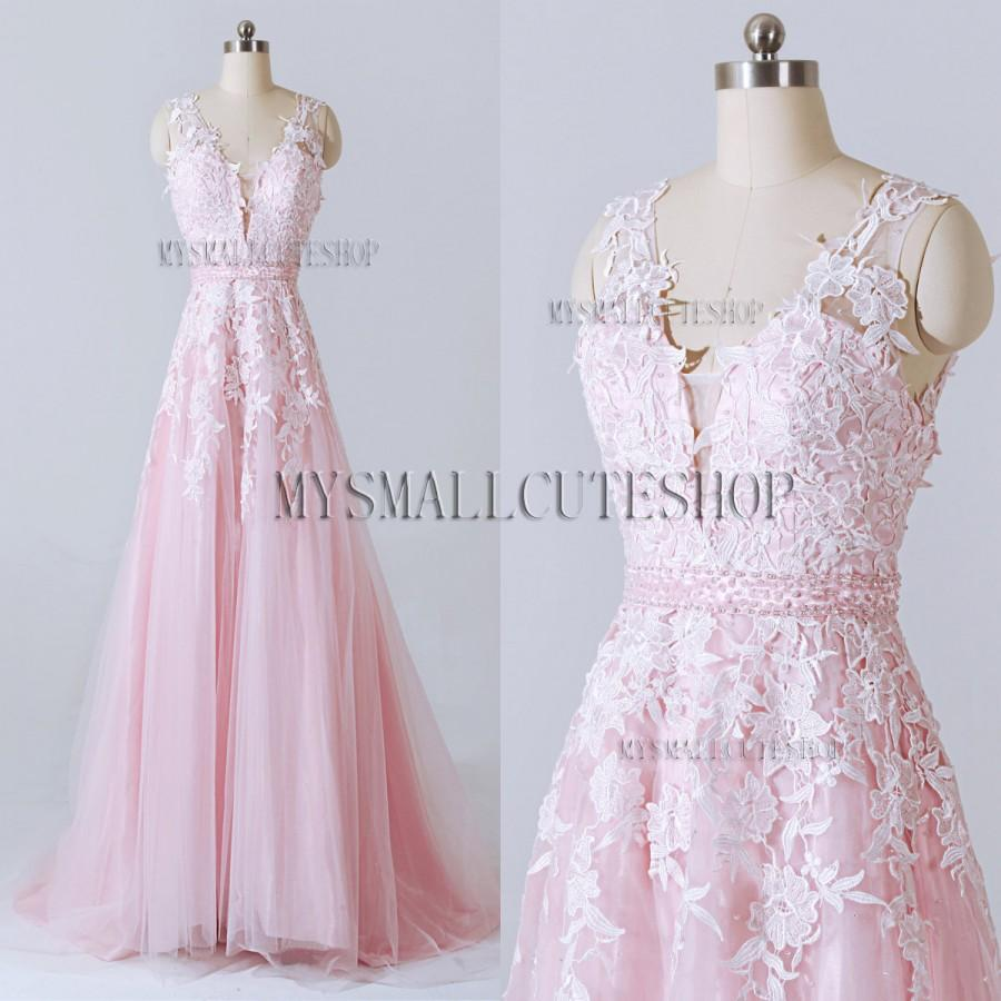 Mariage - Pink prom dress 2016,Tulle bridesmaid dress,Sweep train formal dress,A-line party dress,Lace applique evening dress,V-neck woman dress