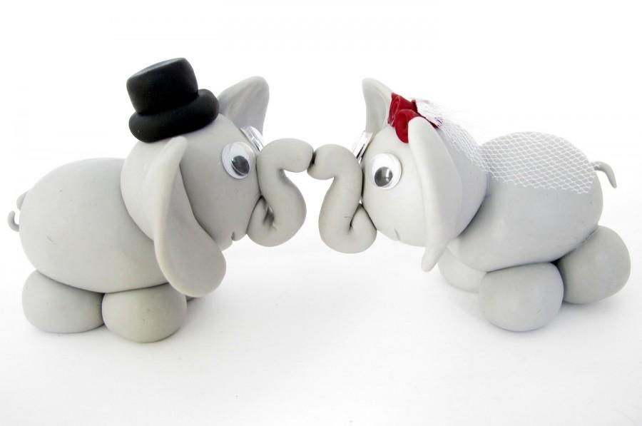 Mariage - Elephant wedding cake topper, bride and groom