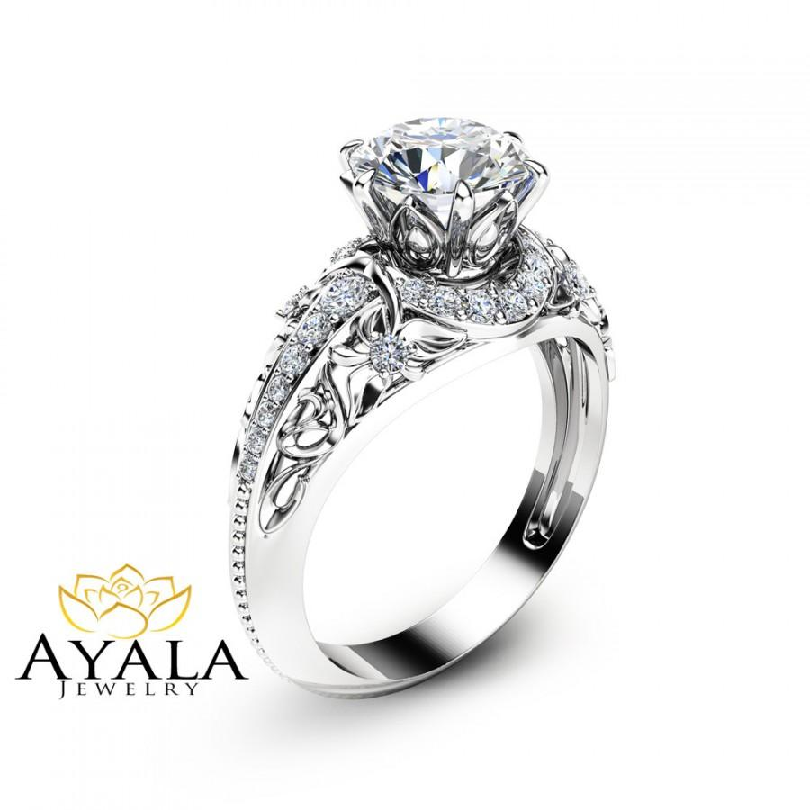 forever brilliant moissanite engagement ring 14k white