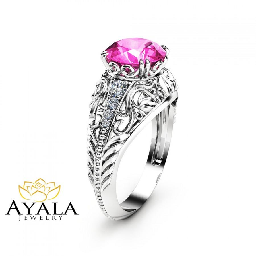 Mariage - 2 Carat Natural Pink Sapphire Engagement Ring in 14K White Gold  Unique Custom Engagement Ring with Pink Sapphire Art Deco Ring