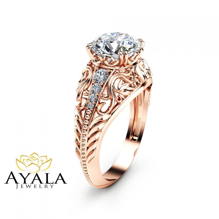 Art Deco Unique Diamond Wedding Ring 14k Two Tone Gold: 2 Carat Diamond Engagement Ring In 14K Rose Gold Art Deco