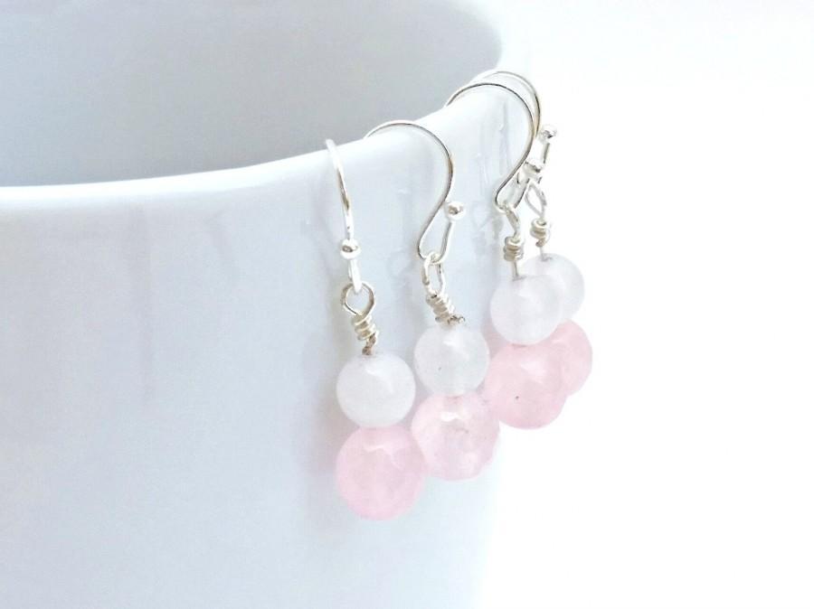 زفاف - Pink Earrings, Pink White Earrings, Natural Rose Quartz, Pink Quartz, White Jade, Minimalist Earrings, Gifts for Women, Boho Chic Jewelry