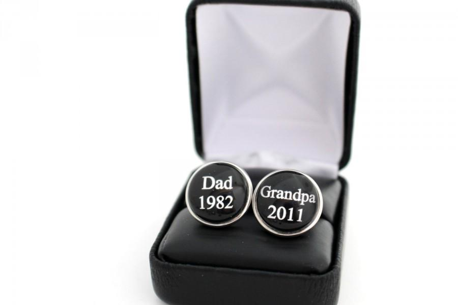 Wedding - Personalized Grandparent Gift Dad Grandpa Custom Cufflinks Father's day gift New Baby Announcement Grandpa Gift First time Dad