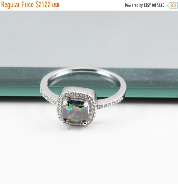 Свадьба - Solitaire Accent Halo Wedding Engagement Ring 1.24 Carat Mystic Rainbow Fire Topaz Princess Cut Square Clear CZ Solid 925 Sterling Silver