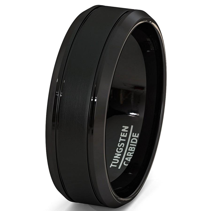 Wedding - Mens Wedding Band Stain 8mm Brushed Surface Inlay Black Tungsten Ring Comfort Fit High Quality Tungsten Carbide