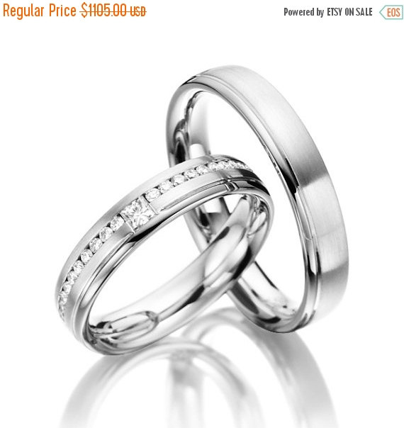 Wedding - ON SALE Matching Wedding Bands His and Hers With Diamonds Around The Band