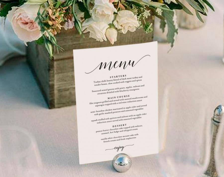 Wedding Menu Template Wedding Menu Printable Wedding Menu Cards