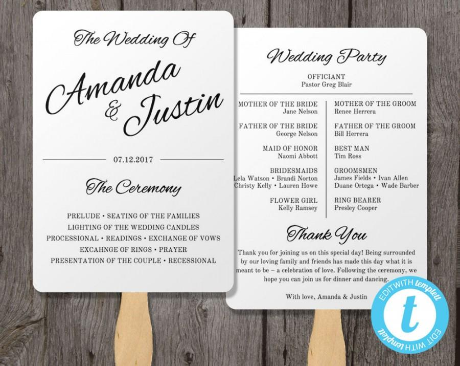 Printable wedding program fan template fan wedding program printable wedding program fan template fan wedding program template instant download edit in our web app clean cursive pronofoot35fo Images