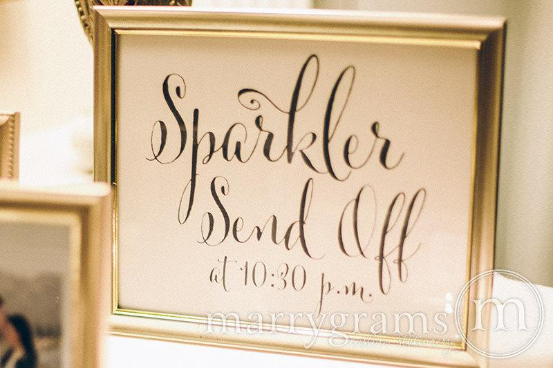 Hochzeit - Sparkler Send Off Sign - Sparklers Wedding Reception Signage - Cute Favor Table Sendoff Sign with Time - Matching Numbers Available SS07