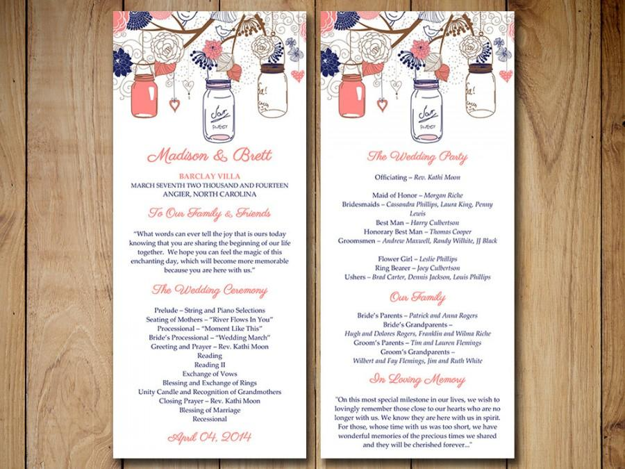 Mason Jars Wedding Program Template  Navy Coral Wedding Program
