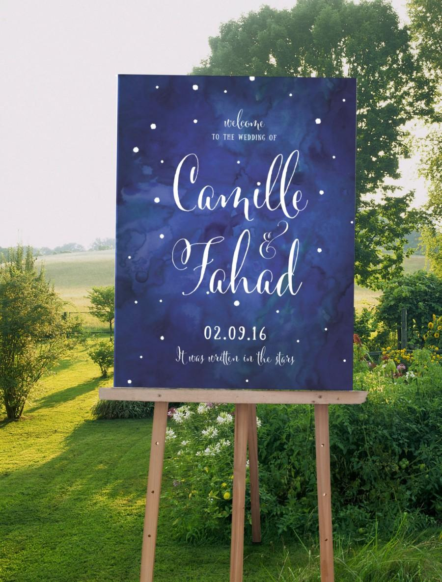 Свадьба - Watercolor Wedding Welcome Sign, Starry Sky Wedding Sign, Navy Wedding Sign available as wood sign, canvas sign- The Zoe Set