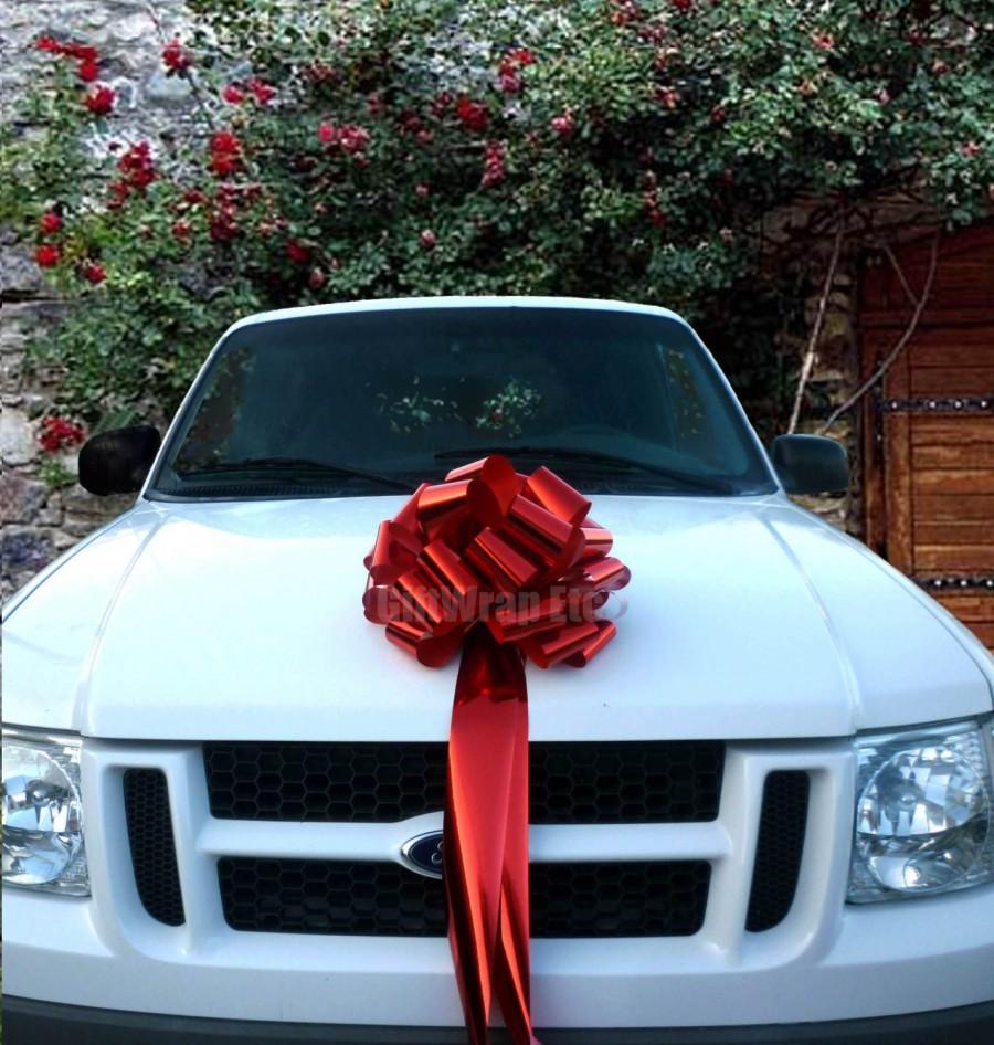 Car Christmas Tree Topper.Big Metallic Red Bow Christmas Tree Topper Car Gift Store