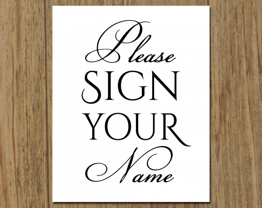 Please Sign Your Name - Guestbook Sign - Wedding Bridal Shower Sign ...