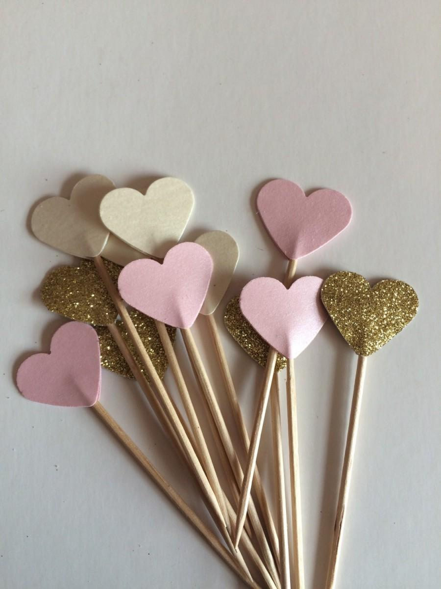 Свадьба - Perfect pink cream pastel and glitter cupcake toppers, flags. Romantic Rustic Wedding shower