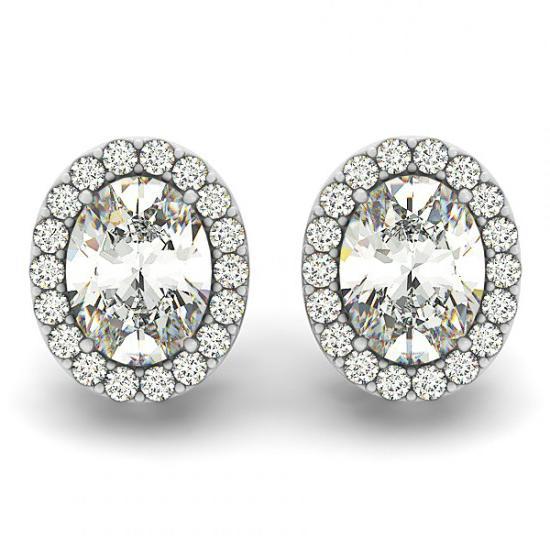 Michael Raven Jewelry 2 Carat Oval Forever One Moissanite Diamond Halo Stud Earrings