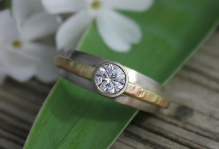 Wedding - Moissanite Ring // 14k White and Yellow Gold // 5mm Round Moissanite // Eco-Friendly // Ready to Ship Size 7