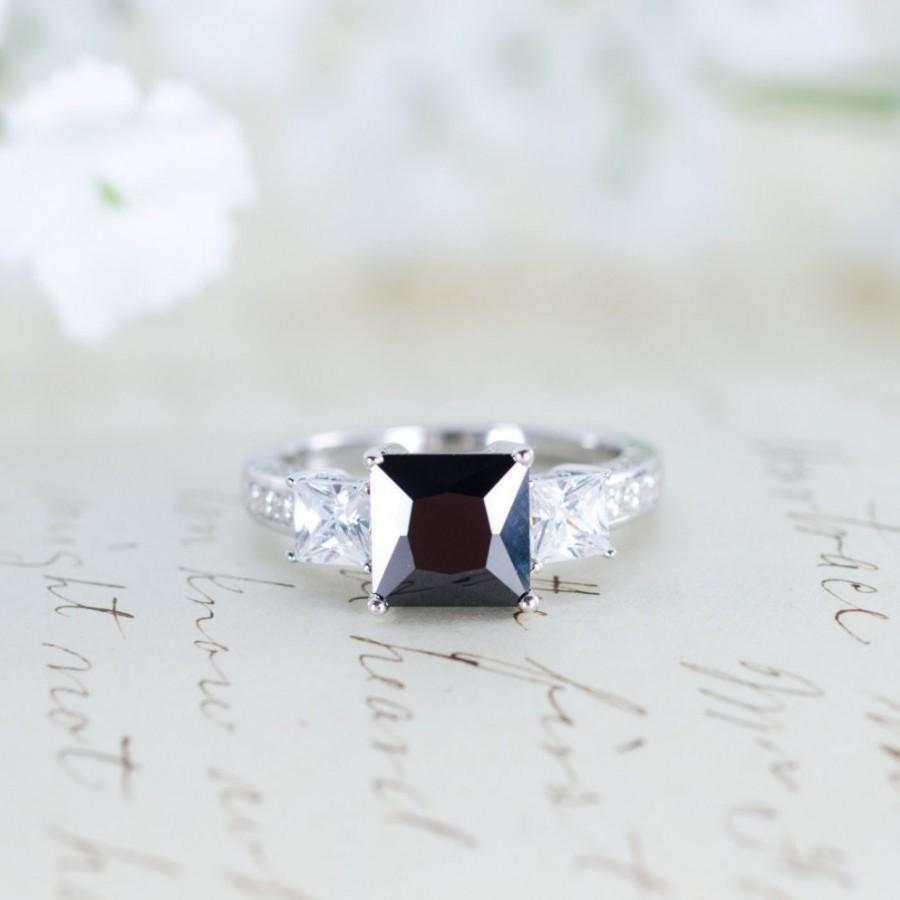 Wedding - SALE - Black Engagement Ring - Three Stone Ring - Princess Cut Ring - Gothic Ring - Wedding Ring - Sterling Silver