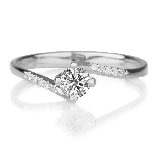 Twist Diamond Engagement Ring 14K White Gold 055 TCW Band Art Deco