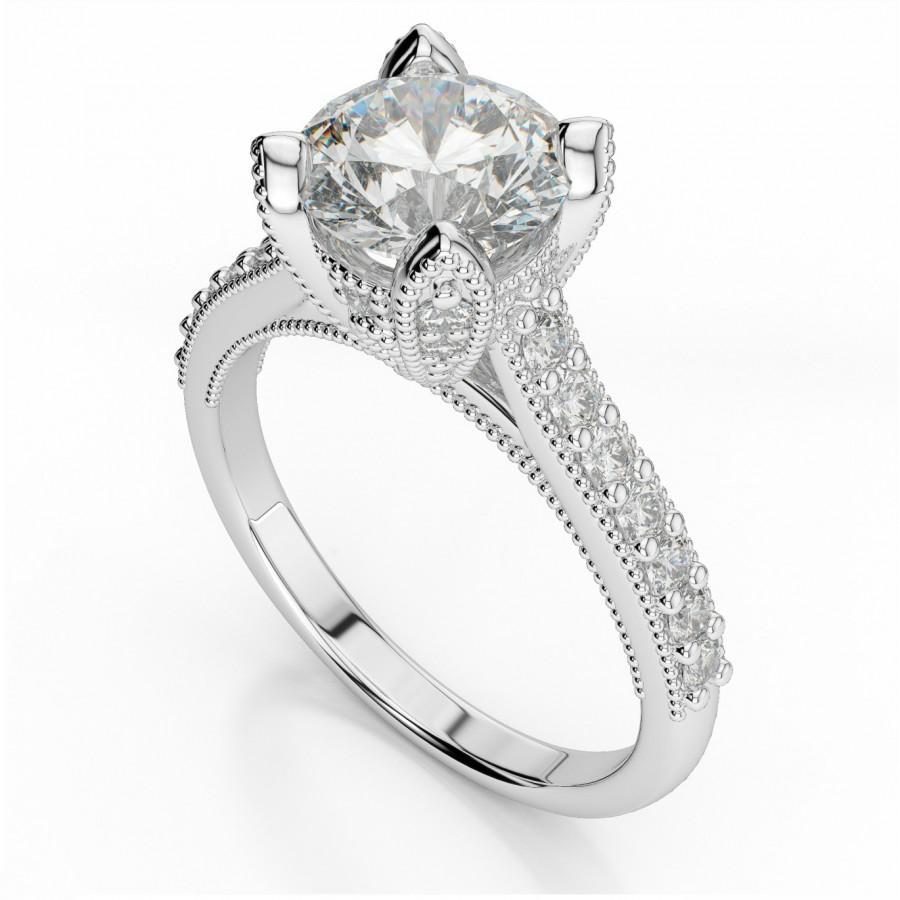 Wedding - Vintage Forever One Moissanite & Diamond Ring - Moissanite Jewelry Etsy - Michael Raven Jewelry - Fine Jewelers