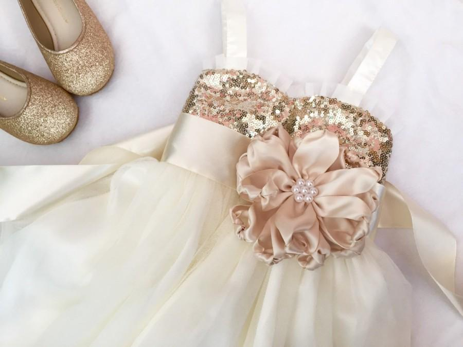 Свадьба - Flower girl dress, Gold sequin flower girl dress, Gold flower girl dress, flower girl dress tulle, Flower girl dress ivory.