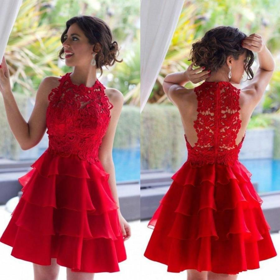 d770ecc8fe Red Short Lace Prom Dresses Graduation A Line Sleeveless Tiered Ruffles Homecoming  Dress Jewel Neck Cheap Formal Party Prom Gowns Online with  88.2 Piece on  ...