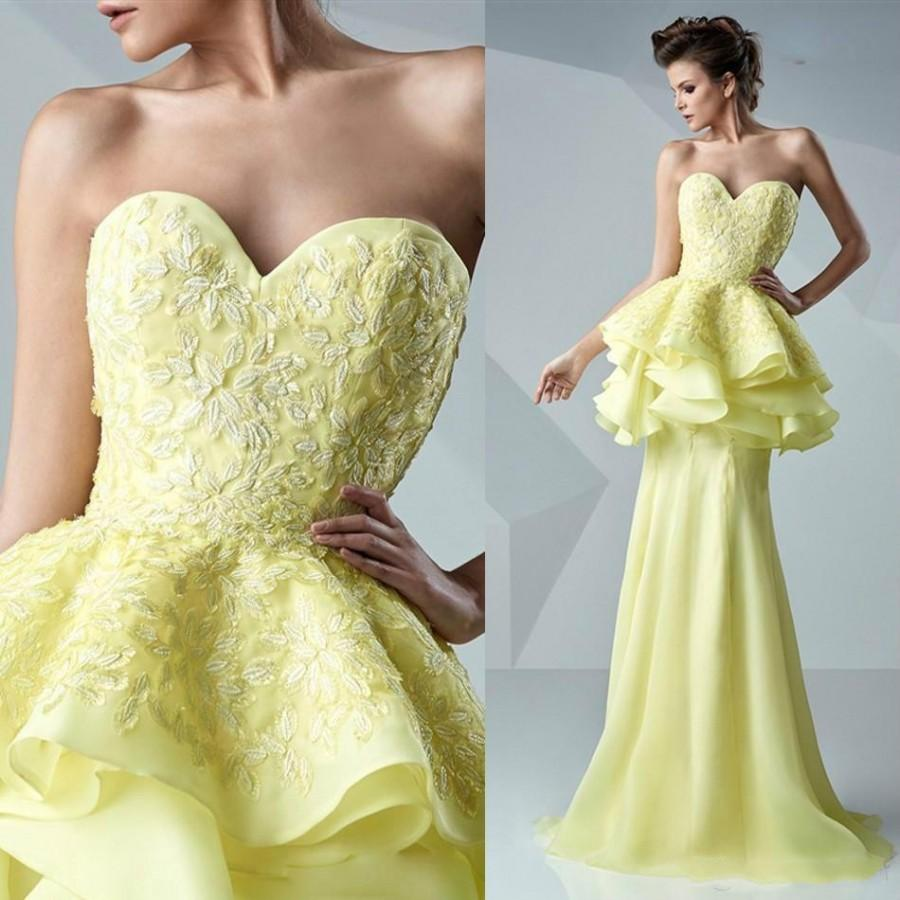 Fashion Yellow Tiered Ruffles Lace Evening Dresses Sleeveless ...