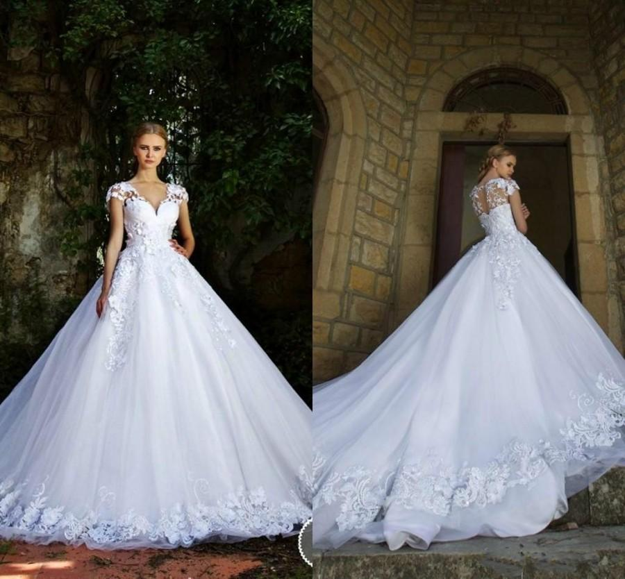Lace Wedding Dress With Cap Sleeves Style D1919 : New style wedding dresses lace appliques v neck cap sleeves
