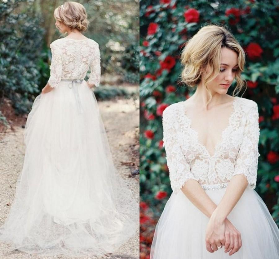 2016 lace bohemia wedding dresses v neck beads sash for Wedding dresses with half sleeves