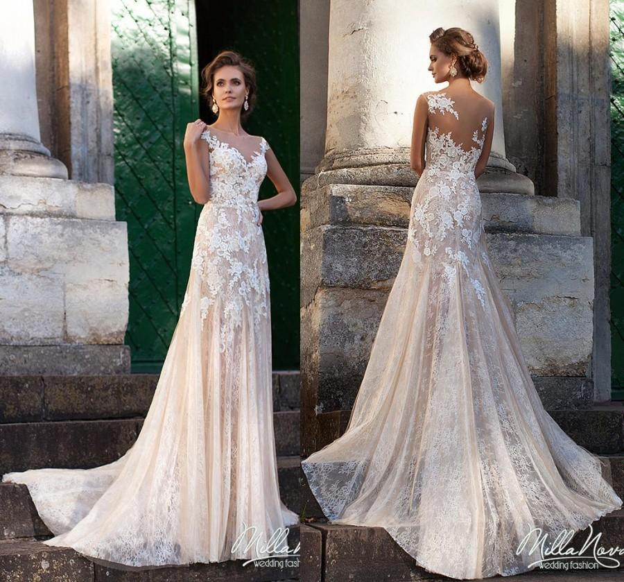 2016 Fashional Mermaid Wedding Dresses Lace With Liques Blush Pink Sheer Illusion Bodice Zipper Gowns Custom Size Chapel Train Online