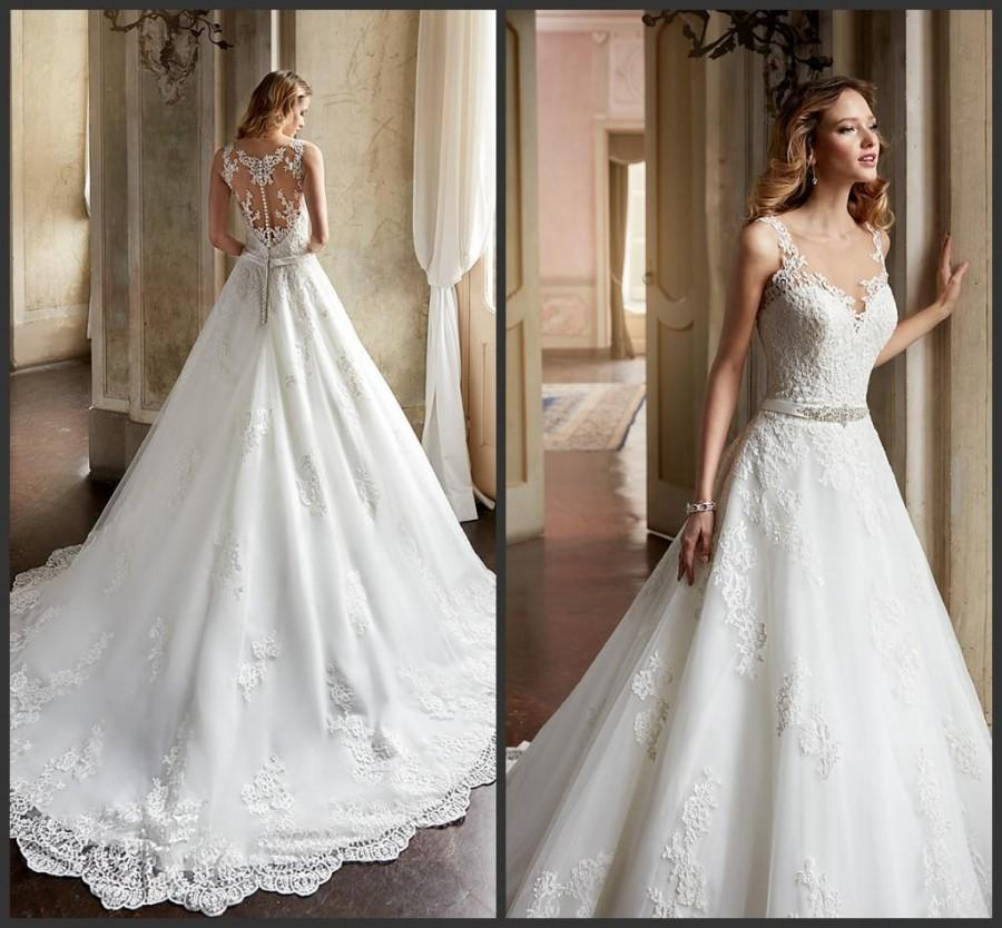 Свадьба - Gorgeous 2016 A Line Wedding Dresses Sheer Scoop Neckline Beaded Appliques Lace Church Ivory Sheer Back Bridal Ball Gowns Chapel Train Online with $111.56/Piece on Hjklp88's Store
