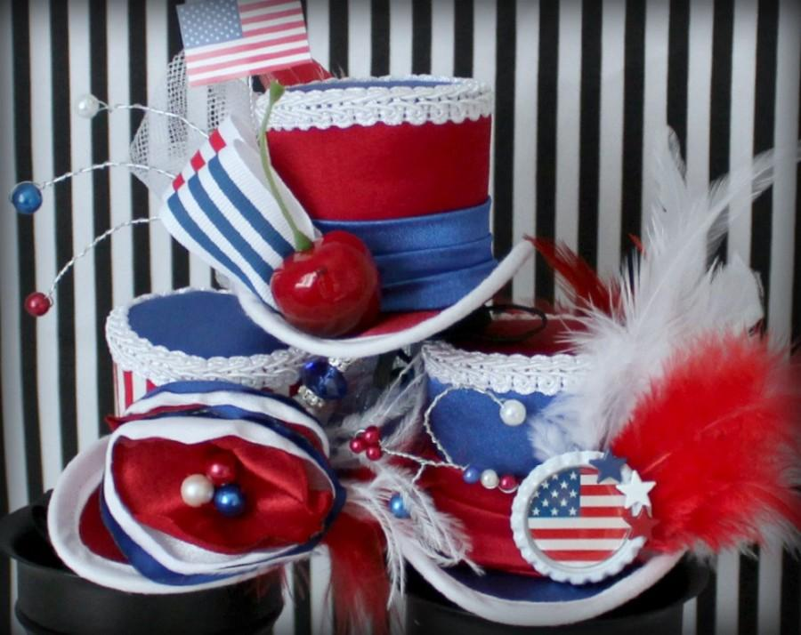 زفاف - 4th of July Hat SET of 3, Red White and Blue Headband, 4th of July Hair Accessories, Red White and Blue Hat, Patriotic Hat, Women Fascinator