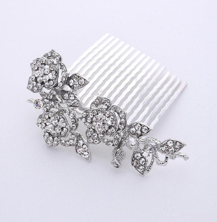 Mariage - Crystal Hair Comb Bridal Hairpiece Gatsby Old Hollywood Wedding Jewelry Accessory Rhinestone Silver Hair Comb for Bride