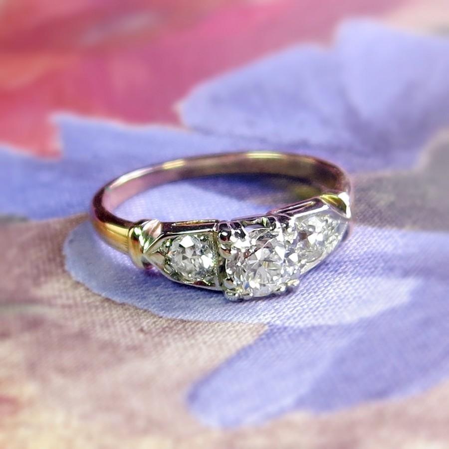 Retro Vintage 1940s 66ct Tw Old European Cut Diamond Three Stone