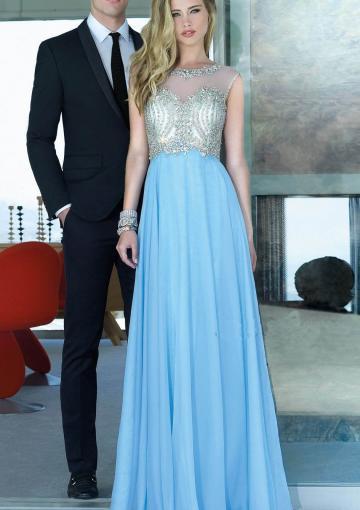 Wedding - Zipper Tulle Crystals Scoop Open Back Sleeveless Blue Floor Length
