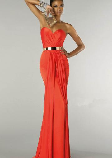 Свадьба - Sweetheart Open Back Sequin Zipper Orange Chiffon Sleeveless Floor Length